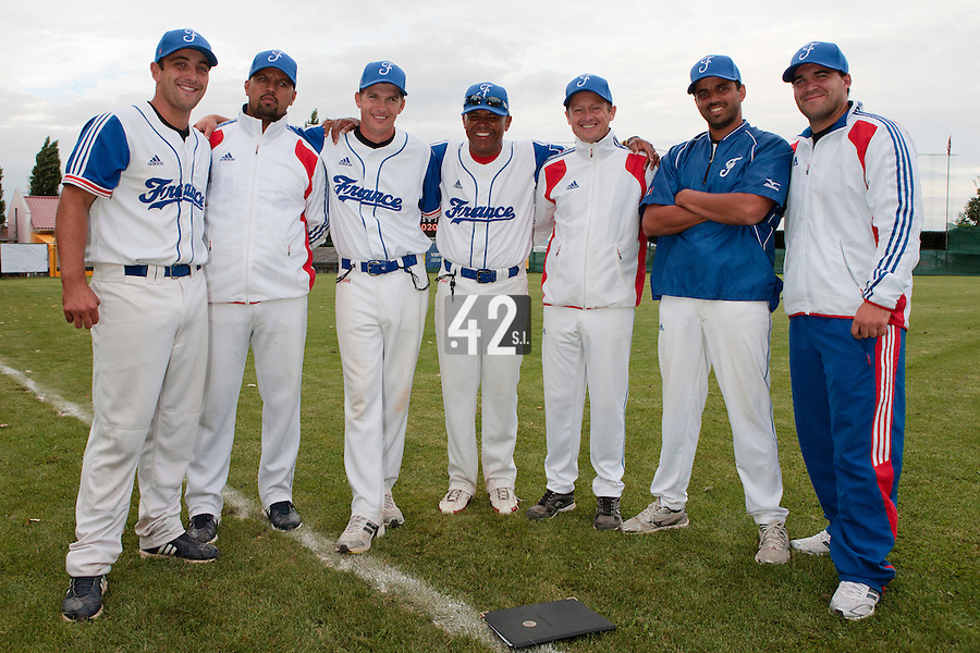 18 August 2010: Jean-Michel Mayeur, Keino Perez, Boris Rothermundt, Gerardo Leroux, Rodolphe Le Meur, Jamel Boutagra, Vincent Ferreira, are seen after the France 7-3 win over Ukraine, at the 2010 European Championship, under 21, in Brno, Czech Republic.