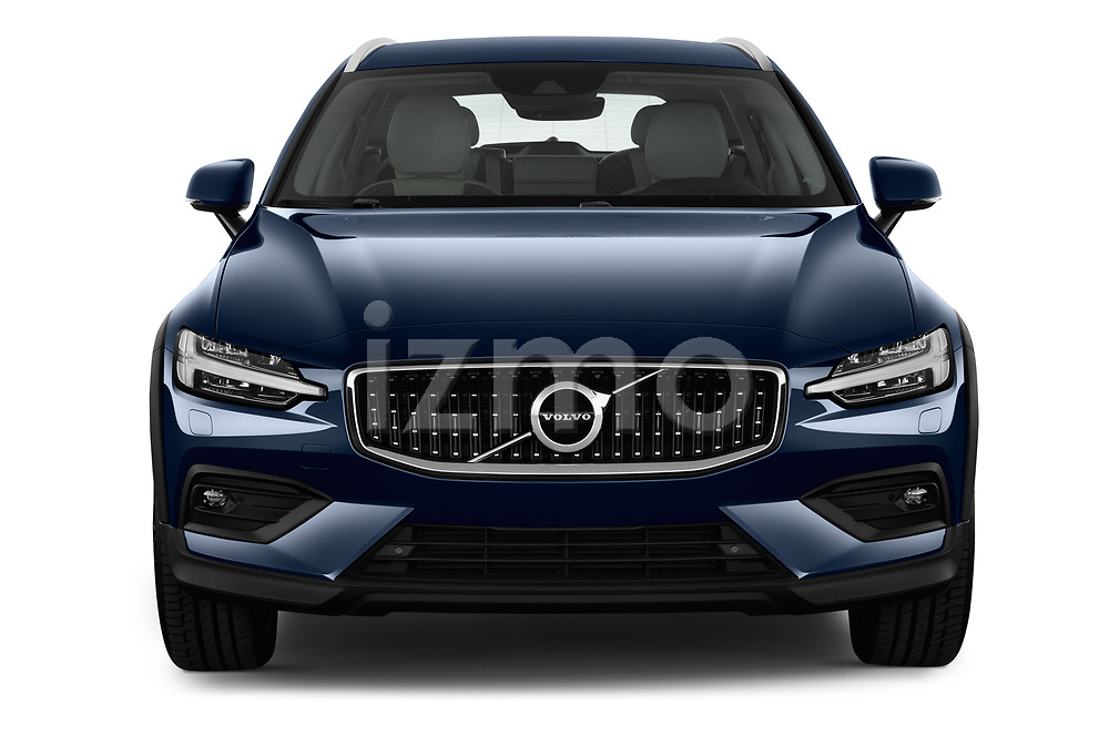 Car photography straight front view of a 2019 Volvo V60-Crosscountry - 5 Door Wagon Front View