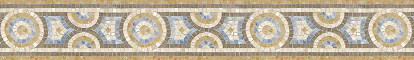 """6"""" Libra border, a hand-cut stone mosaic, shown in honed Montevideo, polished Blue Macauba, Giallo Reale, and Botticino."""