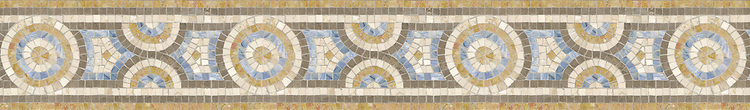 "6"" Libra border, a hand-cut stone mosaic, shown in honed Montevideo, polished Blue Macauba, Giallo Reale, and Botticino."