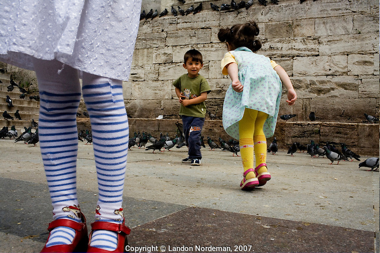 ISTANBUL - MAY 24, 2007:   Young children play in  Istanbul, Turkey. Photo by Landon Nordeman.