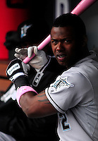 May 10, 2009: Marlins shortstop Hanley Ramirez shows a pink bat in honor of Mothers' Day prior to a game between the Florida Marlins and the Colorado Rockies at Coors Field in Denver, Colorado. The Rockies beat the Marlins 3-2.