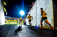 The Hurricanes run out for the Super Rugby match between the Hurricanes and Chiefs at Westpac Stadium in Wellington, New Zealand on Friday, 13 April 2018. Photo: Dave Lintott / lintottphoto.co.nz