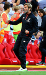 Jurgen Klopp manager of Liverpool celebrates the second goal and looses his glasses during the Premier League match at Anfield Stadium, Liverpool. Picture date: September 10th, 2016. Pic Simon Bellis/Sportimage