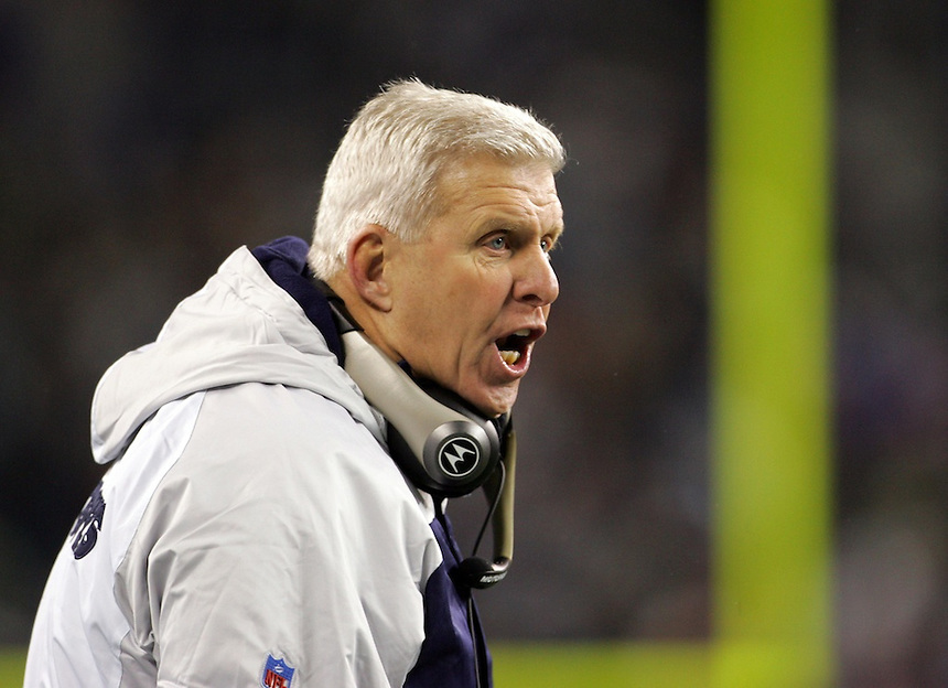 Dallas Cowboys head coach Bill Parcells yells from the sidelines during the NFL football game against the Seattle Seahawks in an NFC wild-card playoff game on Saturday, Jan. 6, 2005 in Seattle. (AP Photo/Kevin P. Casey)