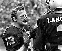 Raiders Rod Sherman talking with QB Daryle Lamonica on the side line..(1970 photo/Ron Riesterer)