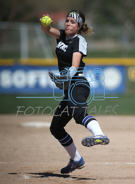 Western Nevada's Kristina George pitches against College of Southern Nevada at Edmonds Sports Complex in Carson City, Nev., on Friday, April 1, 2016. <br />Photo by Cathleen Allison/Nevada Photo Source