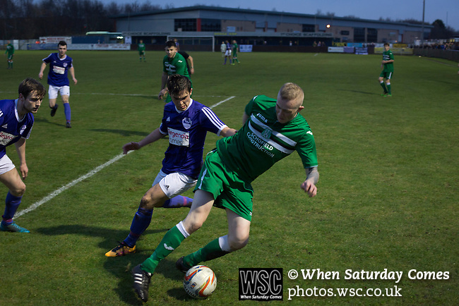 City of Liverpool 6 Holker Old Boys 1, 10/12/2016. Delta Taxis Stadium, North West Counties League Division One. Second-half action at the Delta Taxis Stadium, Bootle, Merseyside as City of Liverpool (in purple) hosted Holker Old Boys in a North West Counties League division one match. Founded in 2015, and aiming to be the premier non-League club in Liverpool, City were admitted to the League at the start of the 2016-17 season and were using Bootle FC's ground for home matches. A 6-1 victory over their visitors took 'the Purps' to the top of the division, in a match watched by 483 spectators. Photo by Colin McPherson.