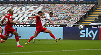 18th July 2020; Liberty Stadium, Swansea, Glamorgan, Wales; English Football League Championship, Swansea City versus Bristol City; Rhian Brewster of Swansea City shoots at goal