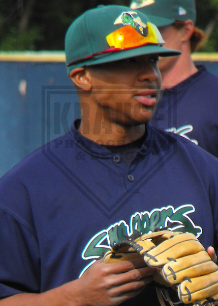 BELOIT - MAY 2008: Ben Revere of the Beloit Snappers, Class-A affiliate of the Minnesota Twins, in action during a game on May 24, 2008 at Pohlman Field in Beloit, Wisconsin. (Photo by Brad Krause)