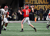January 8th 2018, Atlanta, GA, USA;  Georgia Bulldogs quarterback Jake Fromm (11) passes during the College Football Playoff National Championship Game between the Alabama Crimson Tide and the Georgia Bulldogs on January 8, 2018 at Mercedes-Benz Stadium in Atlanta, GA.