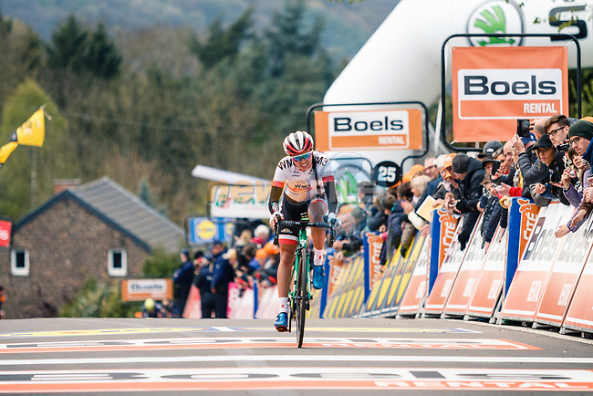 Katarzyna Niewiadoma (POL) WM3 Pro Cycling crosses the line in 3rd place at the end of the 2017 La Fleche Wallonne Femme, Huy, Belgium. 19 April 2017, Photo by Thomas van Bracht / PelotonPhotos.com