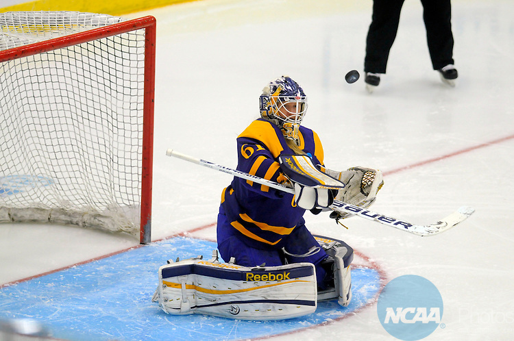 16 MAR 2013: Lauren Sullivan (61) of Elmira College makes a save in the  first period of the Division III Women's Hockey Championship held at Wessman Arena in Superior, WI. Elmira defeated Middlebury 1-0 for the national title.  Jed Carlson/NCAA Photos