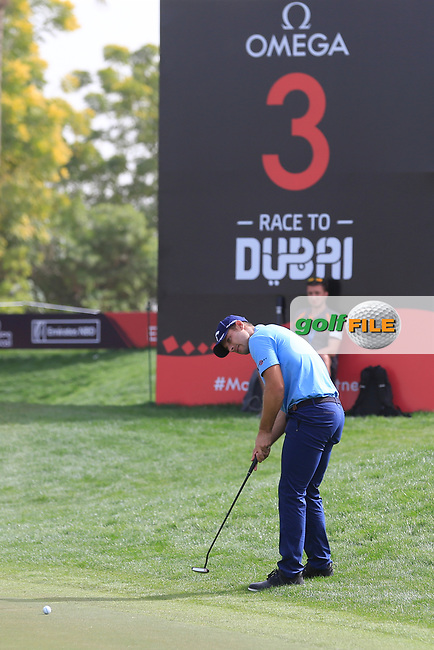 Andrea Pavan (ITA) on the 3rd during Round 1 of the Omega Dubai Desert Classic, Emirates Golf Club, Dubai,  United Arab Emirates. 24/01/2019<br /> Picture: Golffile | Thos Caffrey<br /> <br /> <br /> All photo usage must carry mandatory copyright credit (&copy; Golffile | Thos Caffrey)