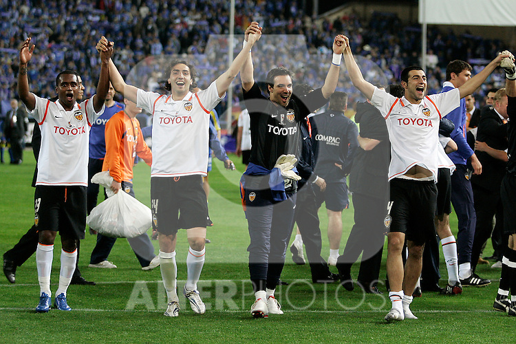 (L to R) Valencia's Miguel Brito, Emiliano Moretti, Juan Luis Mora and Angel Javier Arizmendi celebrate the victory after the Spanish King's Cup Final match. April 16 2008. .(ALTERPHOTOS/Acero).
