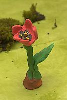 Kinder basteln Frühjahrsblumen aus Knete, Bastelei, Tulpe aus Knete