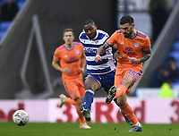 25th January 2020; Madejski Stadium, Reading, Berkshire, England; English FA Cup Football, Reading versus Cardiff City; Marlon Pack of Cardiff City plays the ball forward under pressure from Yakou Meite of Reading