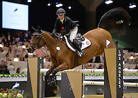 Georgina Bloomberg (USA), riding Lilli at the Gucci Gold Cup International Jumping competition at the 2015 Longines Masters Los Angeles at the L.A. Convention Centre.<br /> October 3, 2015  Los Angeles, CA<br /> Picture: Paul Smith / Featureflash