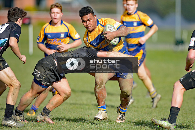 NELSON, NEW ZEALAND - JULY 8: Waimea Combined v Roncalli College, Waimea College, July 8, 2017, Nelson, New Zealand. (Photo by: Barry Whitnall Shuttersport Limited)