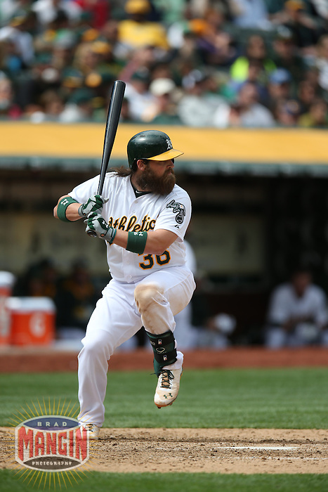 OAKLAND, CA - APRIL 2:  Derek Norris #36 of the Oakland Athletics bats against the Cleveland Indians during the game at O.co Coliseum on Wednesday, April 2, 2014 in Oakland, California. Photo by Brad Mangin