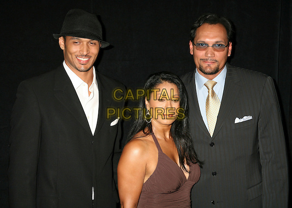 JOAQUIN SMITS, WANDA DeJESUS & JIMMY SMITS.21st Annual Imagen Awards Gala, Beverly Hills, California, USA..August 18th, 2006.Ref: ADM/BP.half length husband wife son father mother family glasses  brown black hat.www.capitalpictures.com.sales@capitalpictures.com.©Byron Purvis/AdMedia/Capital Pictures.