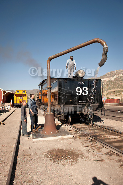 No. 93 waters up for the day's run, Nevada Northern Railway, East Ely yards, Nev.