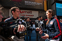 U.S. women national team midfielder Carli Lloyd is interviewed during the centennial celebration of U. S. Soccer at Times Square in New York, NY, on April 04, 2013.