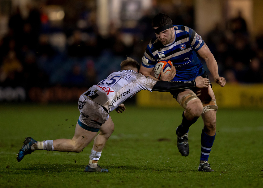 Bath Rugby's Charlie Ewels in action during todays match<br /> <br /> Photographer Bob Bradford/CameraSport<br /> <br /> Gallagher Premiership - Bath Rugby v Gloucester Rugby - Monday 4th February 2019 - The Recreation Ground - Bath<br /> <br /> World Copyright © 2019 CameraSport. All rights reserved. 43 Linden Ave. Countesthorpe. Leicester. England. LE8 5PG - Tel: +44 (0) 116 277 4147 - admin@camerasport.com - www.camerasport.com