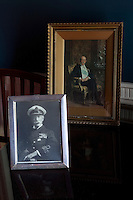Two portraits of the 4th Earl of Dunraven, great grandfather of the present Knight of Glin, are displayed in the library