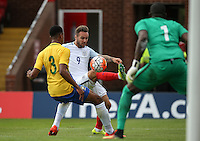 Adam Armstrong (Barnsley, loan from Newcastle United) of England during an attack on goal during the International match between England U20 and Brazil U20 at the Aggborough Stadium, Kidderminster, England on 4 September 2016. Photo by Andy Rowland / PRiME Media Images.