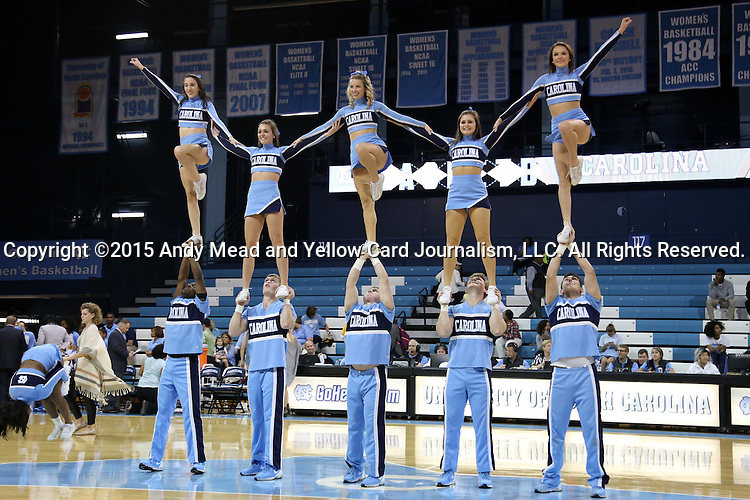 13 November 2015: UNC cheerleaders. The University of North Carolina Tar Heels hosted the Gardner-Webb University Runnin' Bulldogs at Carmichael Arena in Chapel Hill, North Carolina in a 2015-16 NCAA Division I Women's Basketball game. Gardner-Webb won the game 66-65.