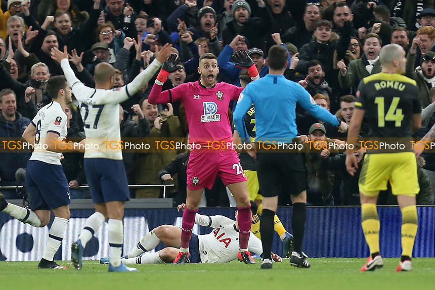 Angus Gunn of Southampton is horrified as Spurs are awarded a penalty for his foul during Tottenham Hotspur vs Southampton, Emirates FA Cup Football at Tottenham Hotspur Stadium on 5th February 2020