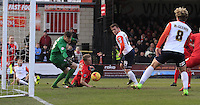 Jack Marriott of Luton Town scores his teams second goal during the Sky Bet League 2 match between York City and Luton Town at Bootham Crescent, York, England on 27 February 2016. Photo by Liam Smith.