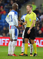 (L-R) Felipe Baloy of Panama protests to referee Bart Vertenten for awarding a penalty kick to Wales during the international friendly soccer match between Wales and Panama at Cardiff City Stadium, Cardiff, Wales, UK. Tuesday 14 November 2017.