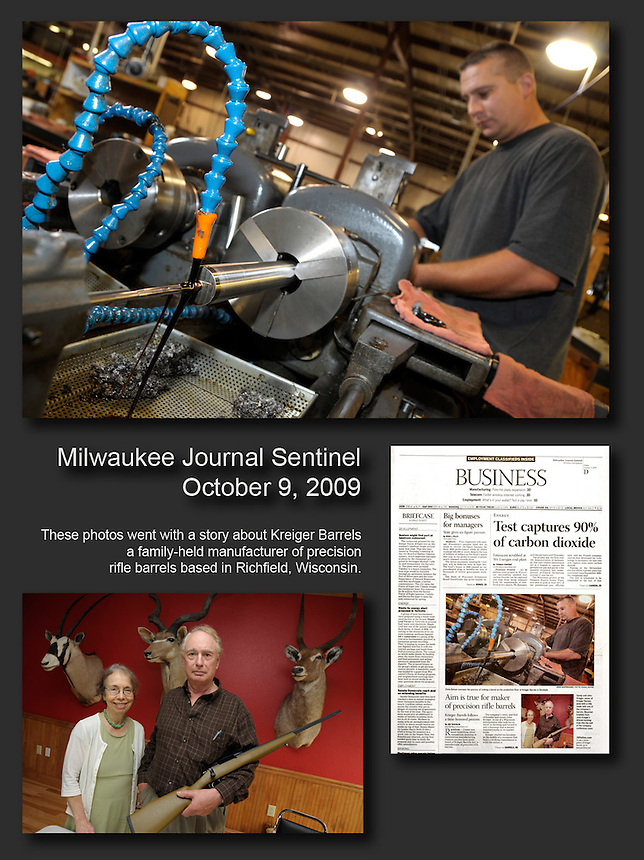 Photos that ran with a Milwaukee Journal Sentinel story about Kreiger Barrels, a supplier of rifle barrels to the gun industry. Ernie Mastroianni photos.