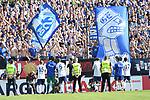 10.08.2019,  GER; DFB Pokal, SV Drochtersen/Assel vs FC Schalke 04 ,DFL REGULATIONS PROHIBIT ANY USE OF PHOTOGRAPHS AS IMAGE SEQUENCES AND/OR QUASI-VIDEO, im Bild die Mannschaft von Schalke jubelt ueber den Sieg mit den Fans Foto © nordphoto / Witke *** Local Caption ***