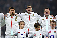 Ben Youngs, Jonny May and George Ford of England look on during the anthems. Old Mutual Wealth Series International match between England and Australia on November 18, 2017 at Twickenham Stadium in London, England. Photo by: Patrick Khachfe / Onside Images