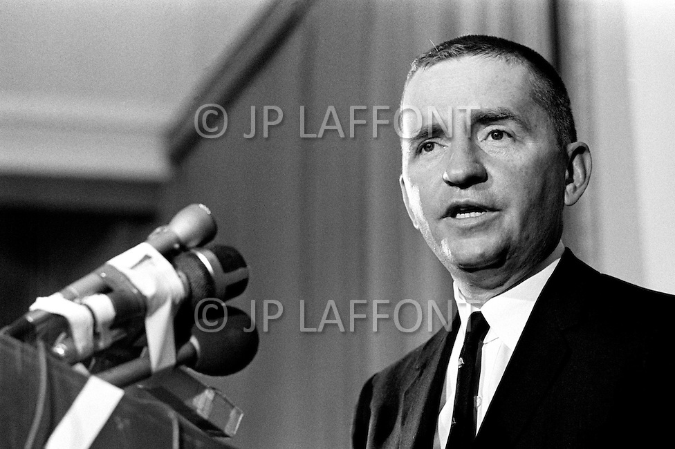 Ho Chi Minh City, Vietnam. April 1970. Businessman Ross Perot, founder of Electronic Data Systems, Inc., speaks about Prisoners of War camps at a press conference in Saigon, South Vietnam. He was appointed by United States Secretary of the Navy John Warner to report on the conditions of Americans in Vietnamese and Laotian POW camps for four years, until the prisoners were released in 1972 at the end of the Vietnam War.