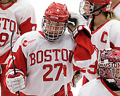 Jordan Juron (BU - 27), Marie-Philip Poulin (BU - 29) - The Boston University Terriers defeated the visiting Harvard University Crimson 2-1 on Sunday, November 18, 2012, at Walter Brown Arena in Boston, Massachusetts.