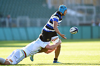 Zach Mercer of Bath United offloads the ball after being tackled. Aviva A-League match, between Bath United and Saracens Storm on September 1, 2017 at the Recreation Ground in Bath, England. Photo by: Patrick Khachfe / Onside Images