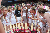 STANFORD, CA - February 10, 2013: Stanford Cardinal's Joslyn Tinkle speaks to the team after Stanford's game against Arizona State at Maples Pavilion in Stanford, California.  The Cardinal defeated the Sun Devils 69-45.