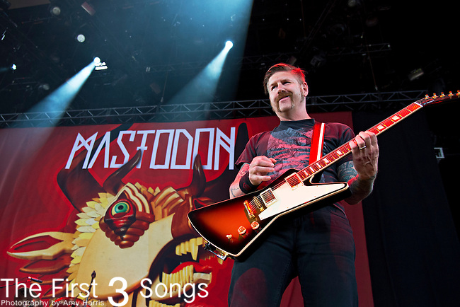 Bill Kelliher of Mastodon performs during the 2013 Mayhem Festival at Klipsch Music Center in Indianapolis, Indiana.