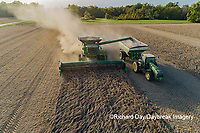 63801-13609 Harvesting soybeans and unloading into grain cart in fall-aerial  Marion Co. IL