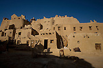 The Al-Babinshal ecolodge hotel attached to the 13th century mud-brick fortress of Shali, at sunrise, in Siwa Town of the Siwa Oasis, near the Libyan border in Egypt.