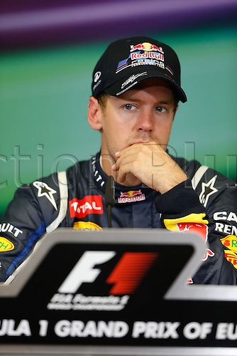 23 06 2012 FIA Formula One World Championship 2012 Grand Prix of Europe. Sebastien Vettel at the post-qualification press meeting