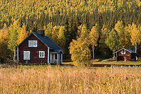 Aktse; Autumn; cabin; countryside; Fall; hut; Kungsleden Trail; Lapland; Lappland; Mountain Hut; Mountains; Nature; Remote; Sarek; Scandinavia; Scenic; Scenics; Sweden; Swedish, Cottage, House, Rural, Farm, Farmstead, Autumn, Tree, Trees, Forest, Birch