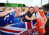 June 17th 2017, Gander Green Lane, Sutton, England; Football Charity Match; Chelsea Legends versus Rangers Legends; Rangers Player Colin Hendry has a selfie with fans at half time
