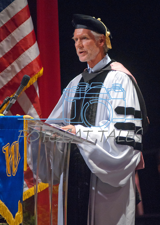 Regent Rick Trachok, Vice Chair NSHE Board of Regents delivers a message from the Board of regents at the Western Nevada College commencement in Fallon, Nev., on Tuesday, May 20, 2014. <br /> Photo by Kim Lamb