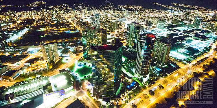 An aerial view of Honolulu city lights along Ala Moana Boulevard, O'ahu.