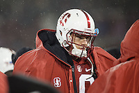 Stanford, CA - November 26, 2016: Keller Chryst during the Stanford vs Rice game Saturday at Stanford Stadium.<br /> <br /> Stanford won 41- 17.